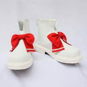 Touhou Project Lemiria Skar White and Red PU Leather Cosplay Shoes