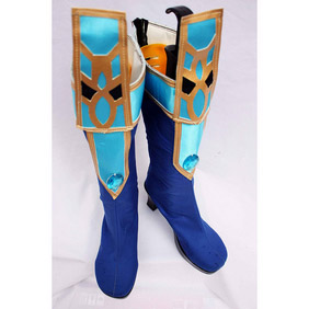 Blue Satin Cosplay Boots