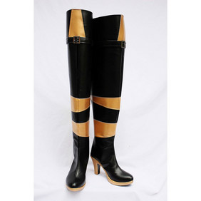 VOCALOID Lily Black and Golden  PU Leather Cosplay Shoes