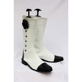 Black Butler Kuroshitsuji Angelina Dulles White PU Leather Cosplay Shoes