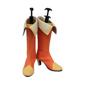 HEART CATCH PRECURE ! Inori Yamabuki orange and White PU Leather Cosplay Boots