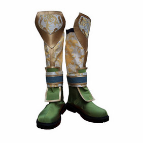 Shin Sangoku Musou Chou Un Green and White  Satin Cosplay Boots