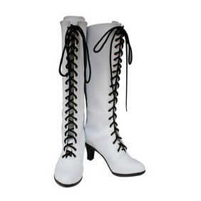 Black Butler Kuroshitsuji Angelina White  PU Leather Cosplay Boots