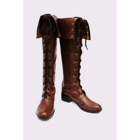 DEVIL MAY CRY 4 lady Brown PU Leather Cosplay Shoes