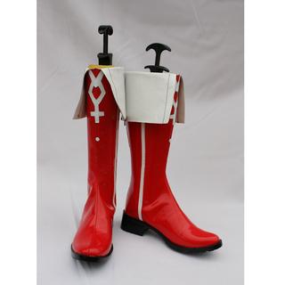 PUELLA MAGI MADOKA MAGICA Kyouko Sakura Red PU Leather Cosplay Boots