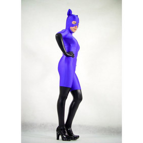 Sexy Mixed Color Lycra Spandex See-Through Zentai Suit