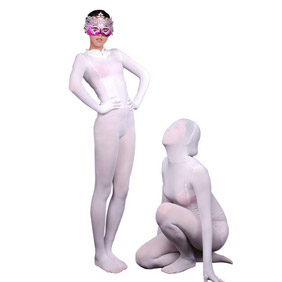SexyWhite Lycra See-Through Zentai Suit