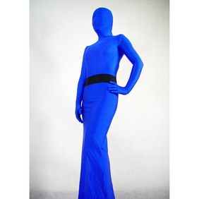 Sexy Lycra Blue Breathable Skirt Zentai Suit