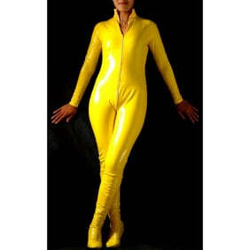 Sexy Yellow PVC  Zentai Suit