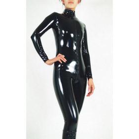 通気 柔らかい セクシー ブラック PVC メタリック 顔出し ファスナー付き 全身タイツ