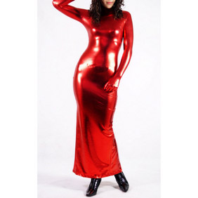 Red PVC Female Skirt Zentai Suit