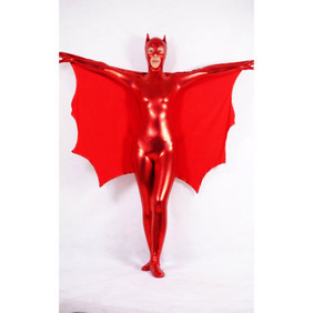 Red PVC Bat Women Costume  Zentai Suit