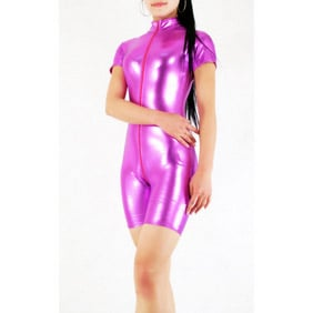 Shiny Metallic Purple Unisex  Zentai Suit