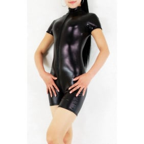 Shiny Metallic Black Unisex Zentai Suit