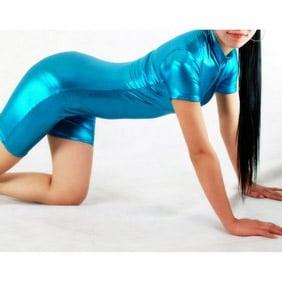 Shiny Metallic Blue Unisex Zentai Suit