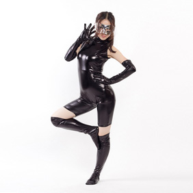 Metallic Black High-Neck Bondage Zentai Suit