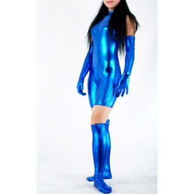Metallic High-Neck Bondage Blue Zentai Suit