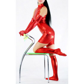 Metallic Red High-Neck Bondage Zentai Suit