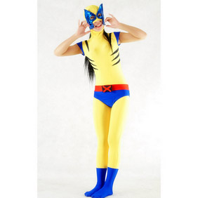 Yellow Metallic Spandex Cat Woman Costume Zentai Suit