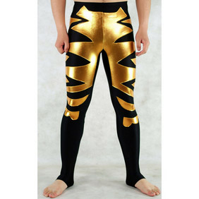 Black Golden PVC Spandex Jupon Zentai Suit