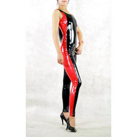 Black&Red PVC Breathable Catsuit Costume Zentai Suit