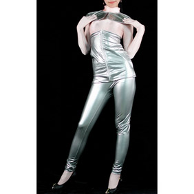 Sexy Silver PVC Breathable Zentai Suit