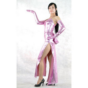 Pink PVC Chinese Dress Halloween Costume Zentai Suit