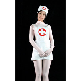 White LycraSexy Nurse Costume Zentai Suit