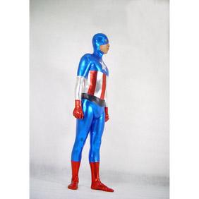 通気 柔らかい セクシー 混色 メタリック 顔出し キャプテン・アメリカ (Captain America) 戦闘員 全身タイツ