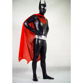 通気 柔らかい セクシー ブラック 黒とレッド 赤 メタリック バットマン 全身タイツ