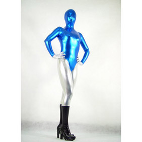 Metallic Blue&Silver Whole Body Costume Zentai Suit