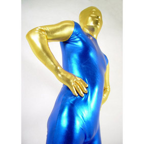 Metallic Blue&Golden Party Costume Zentai Suit