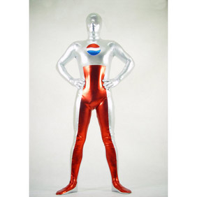 Metallic Silver&Red Pepsi Costume Zentai Suit