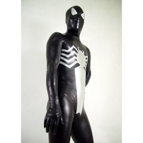 Metallic Black&Silver Spiderman  Zentai Suit