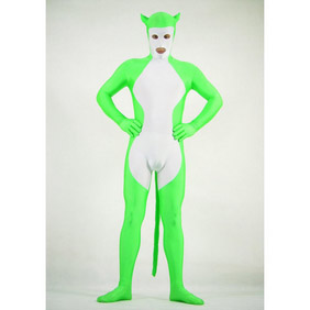 Sexy White&Green Lycra Animal Costume Zentai Suit