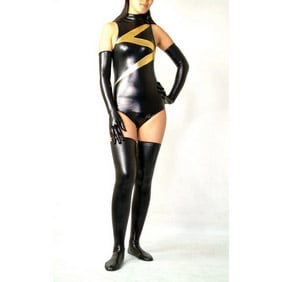 Metallic Black Female Party Costume Zentai Suit