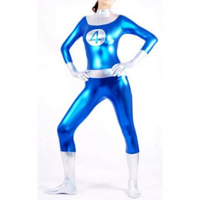Metallic Blue&White Ranger Halloween Costume Zentai Suit