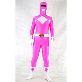 Sexy Pink&White  Lycra Spandex Ranger  Zentai Suit