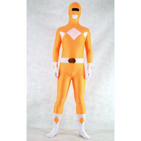 Sexy Orange&White Lycra Spandex Ranger Whole Body Zentai Suit