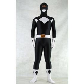 Sexy Black&White  Lycra Spandex Ranger Whole Body Zentai Suit