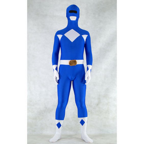 Sexy Blue&White Lycra Spandex Ranger Whole Body Zentai Suit
