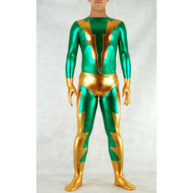Metallic Green&Golden Halloween Costume Zentai Suit