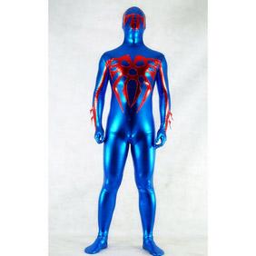 通気 柔らかい セクシー ブルー 青 とレッド 赤 メタリック 戦闘員 全身タイツ