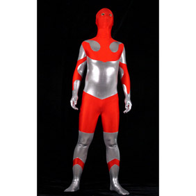 Metallic Red&Silver Costume Zentai Suit