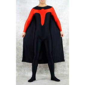 Sexy Metallic Black Red Zentai Suit