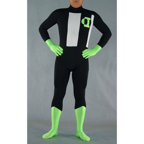 Sexy Black Green  Lycra  Zentai Suit