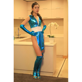 Sexy Metallic Blue  Female Dress  Zentai Suit