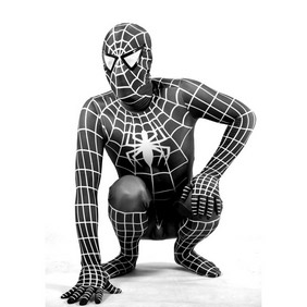 Metallic Black Spiderman Costume Zentai Suit