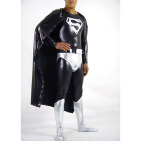 Metallic Black Spandex Superman Costume Zentai Suit