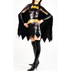 Metallic Black Female Costume Mini Skirt Zentai Suit